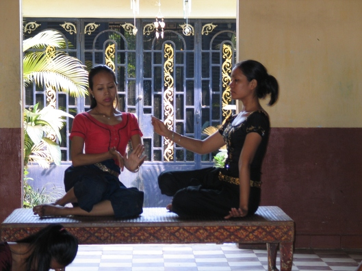 Cambodian dancers in rehearsal at the Royal University of Fine Arts in Phnom Penh, Cambodia, February 2004.