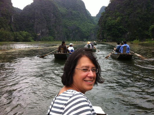 Jan on the water in Tam Coc. Wish you were here...
