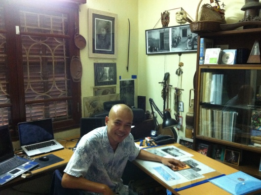Tan in his apartment studio in Hanoi.