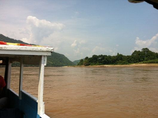 Hugging the side of the Mekong River.