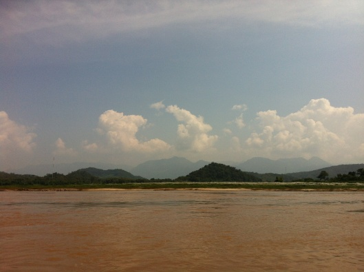Distant mountains from the Mekong.