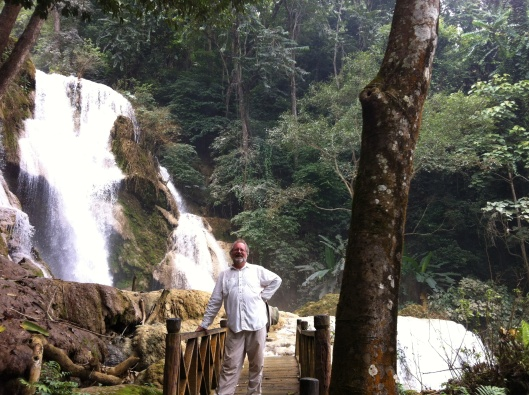 At the head of the Kuang Si Falls in Luang Prabang. Wish you were here...