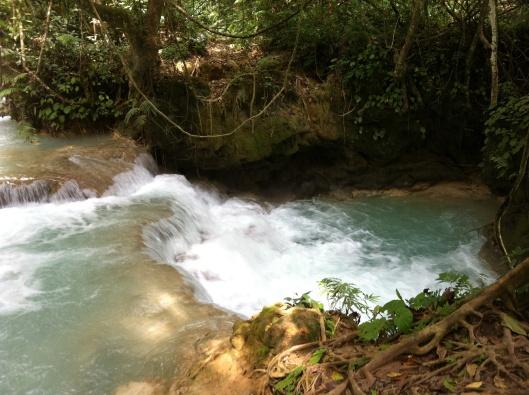 A rapid cascade of water.