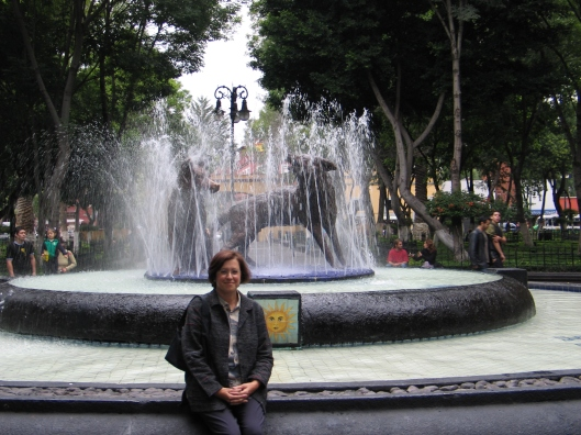 Jan in the Coyoacan Plaza after meeting Ana Chavez.