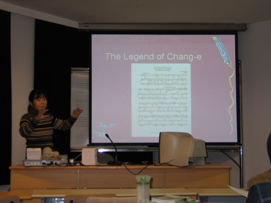 Our friend Joan Huang lecturing at the Shanghai Conservatory.