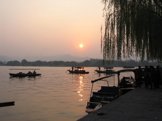 Sunset on West Lake in Hanzhou.