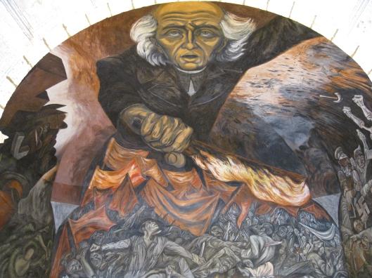 Orozco's Padre Hidalgo lighting the revolutionary flame in Guadalajara.