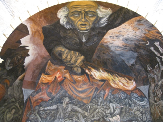 Orozco's Padre Hidalgo lighting the revolutionary flame in Guadalajara.