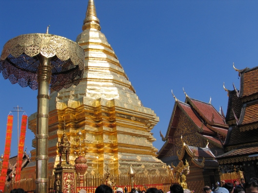 The golden chedi contains the relic of Buddha.