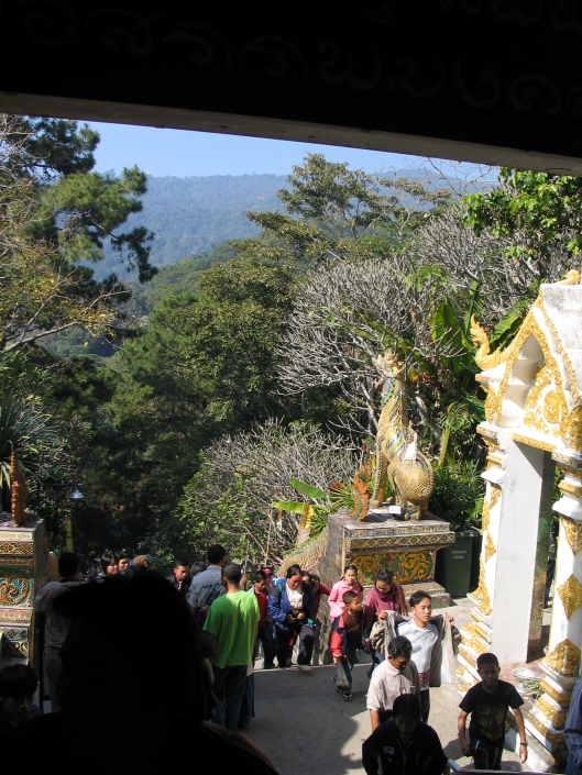 Hundreds of steps leading to the Doi Suthep entrance.