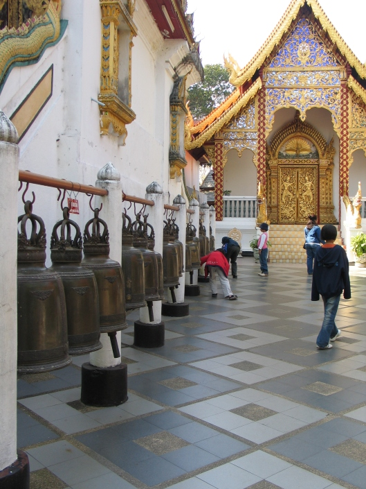 These bells carry ones prayers to Buddha, so that the prayer will be heard.
