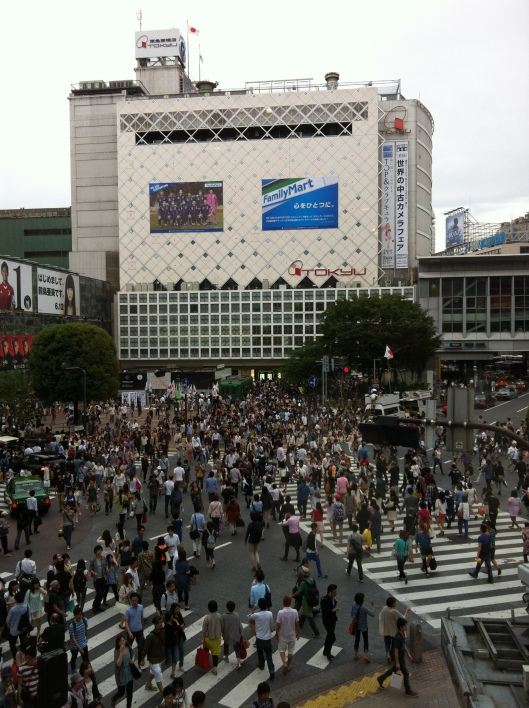 The Shibuya Scramble viewed from Starbuck's in Tokyo.