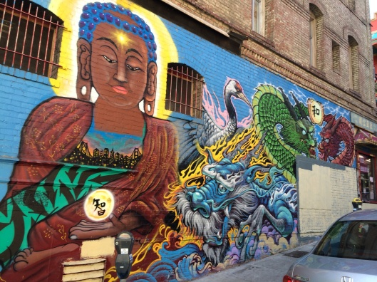 A mural on the wall of Eastern Bakery in San Francisco.