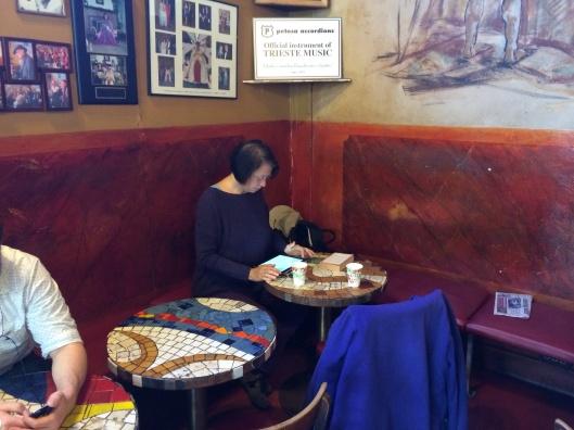 Louis Freedman's niece at Caffe Trieste.