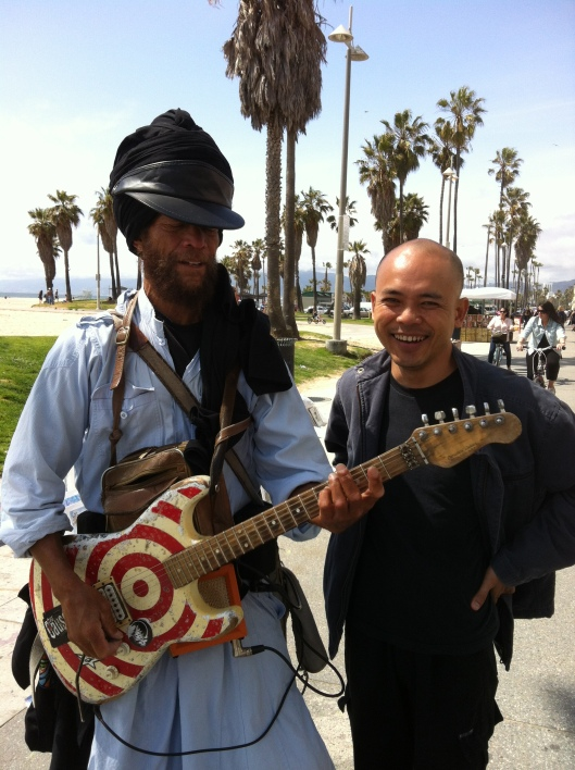 Harry Perry and Vu Nhat Tan on Venice Beach in 2012.