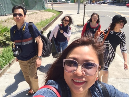 Song Hong selfie going up Bunker Hill to Disney Hall.