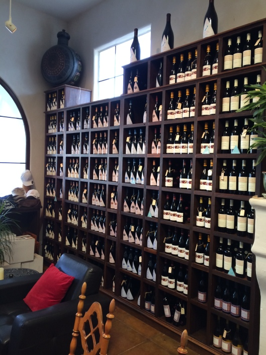 The tasting room shelves of Au Bon Climat.