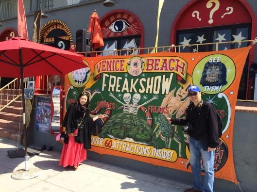 A circus throwback Venice Beach attraction.