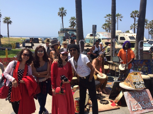 New friends as Song Hong meets the Drum Orchestra of Venice Beach.