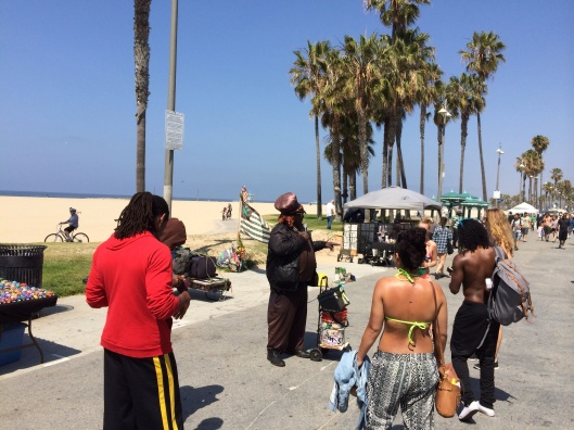 Imaginative street performers are everywhere on the Venice Beach.