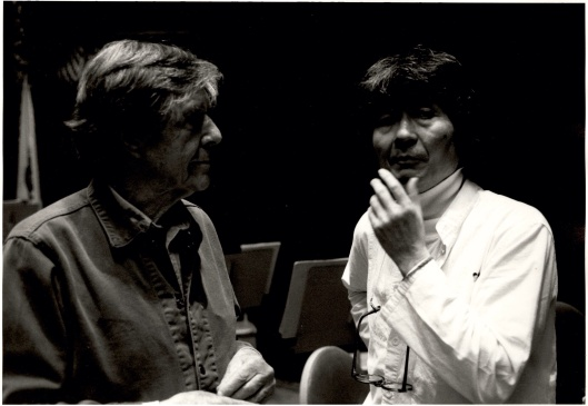 John Cage & Seiji Ozawa discussing the world premiere of Quartets.
