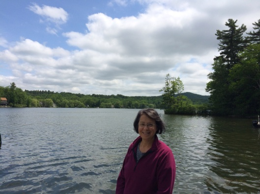 Jan at Lake Buel, the site of the Red Fox Music Camp from long, long ago.