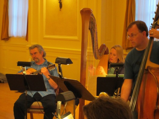 Nieuw Ensemble's Hans Wesseling with Southwest's Alison Bjorkedal and Tom Peters