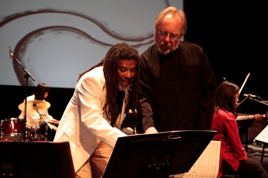 Working with Wadada Leo Smith on an important detail.