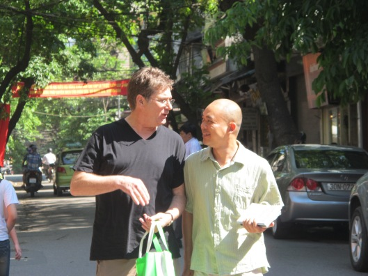 Bruce Weigl and Vu Nhat Tan discussing The Song of Napalm in Hanoi, 2011.