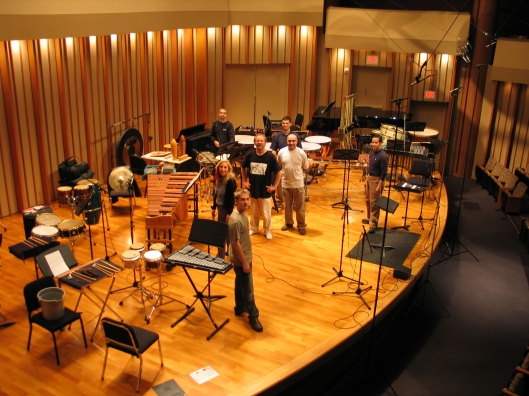 Recording Chavez with Southwest and Tambuco, October 2004.
