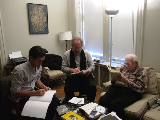 Evan Hughes, me, and Elliott Carter working On Conversing with Paradise, January 2010.