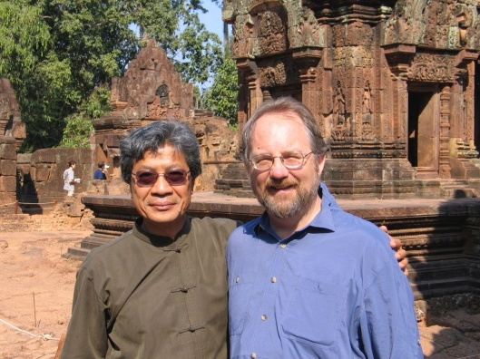 At Banteay Srei Temple in Cambocia with Chinary Ung in 2004.