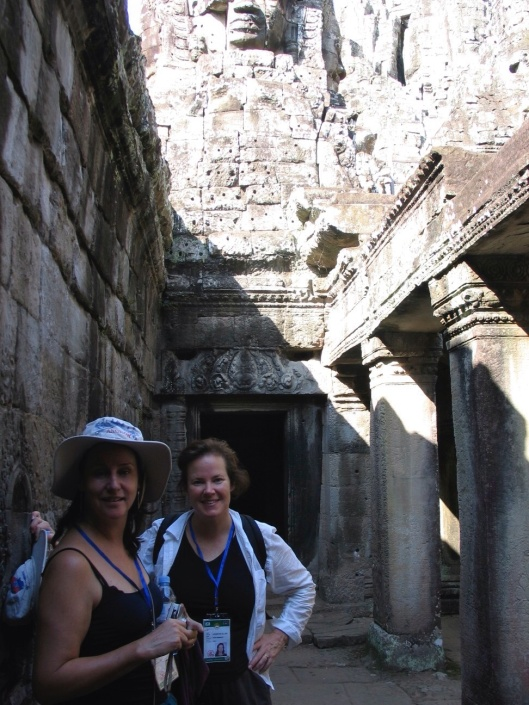 Sopranos Kathleen Roland and Elissa Johnston on tour with Southwest in Cambodia, 2006.