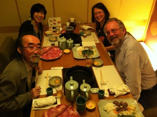 Ichiro, Tami, Jan and me in Tokyo enjoying great sukiyaki.