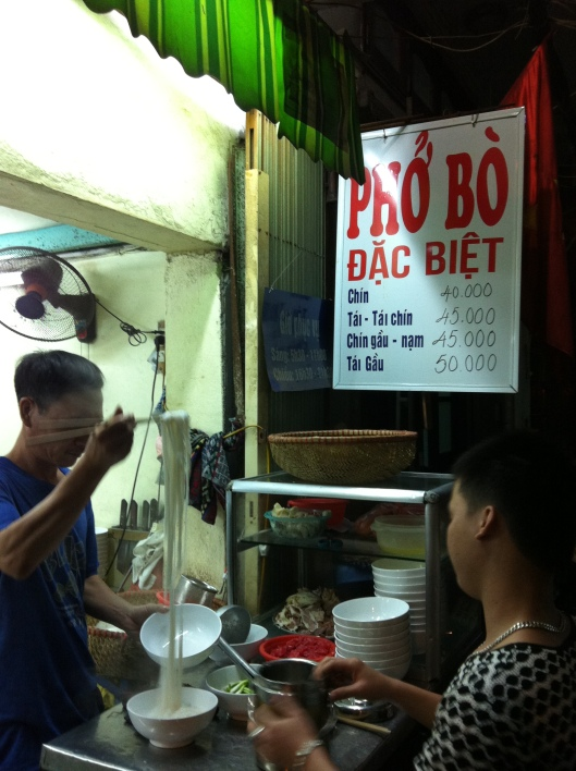 The best Pho Bo in Hanoi is at Happy Noodle.