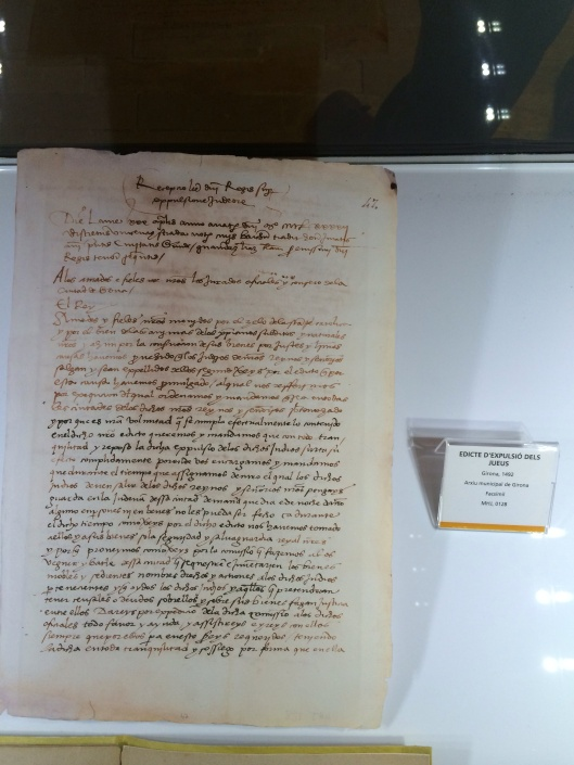 At the Girona Jewish Museum: the 1492 Edict from the Spanish Crown expelling all Jews