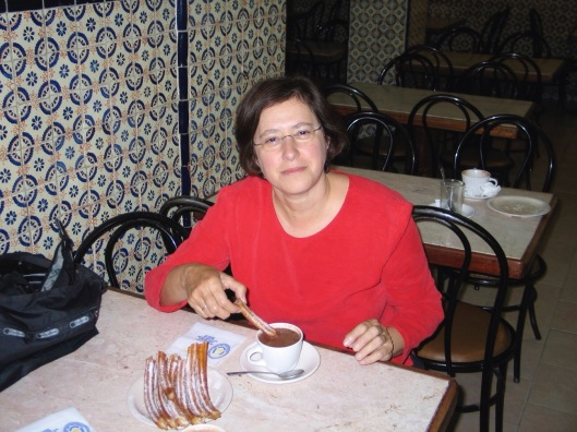 Jan having churros at a 24 hour chocolate shop in Mexico City in 2005.