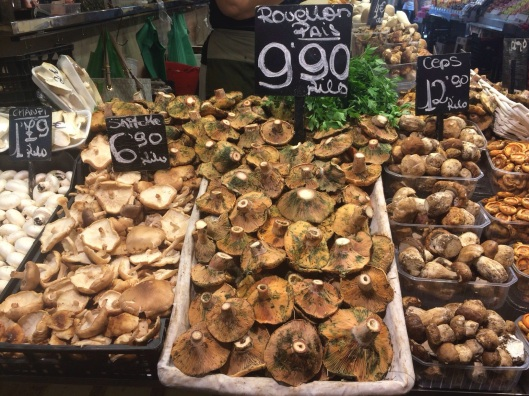 Autumn mushroom harvest at La Boqueria.