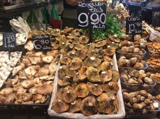 Autumn mushroom harvest at La Boqueria.
