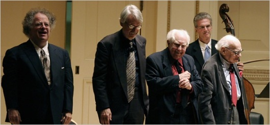 James Levine, John Harbison, Elliott Carter and Milton at Carnegie Hall.