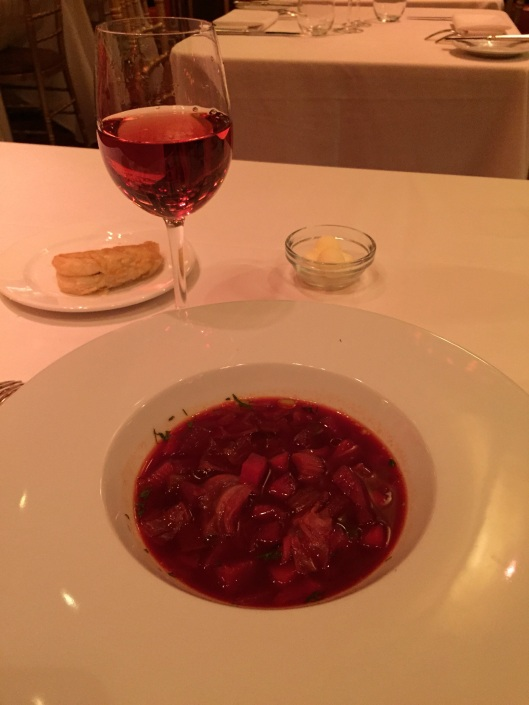 Food is memory: borscht for grandma and mom, a kir for Aunt Elaine.