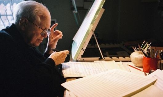 Elliott Carter at his writing desk, age 101.