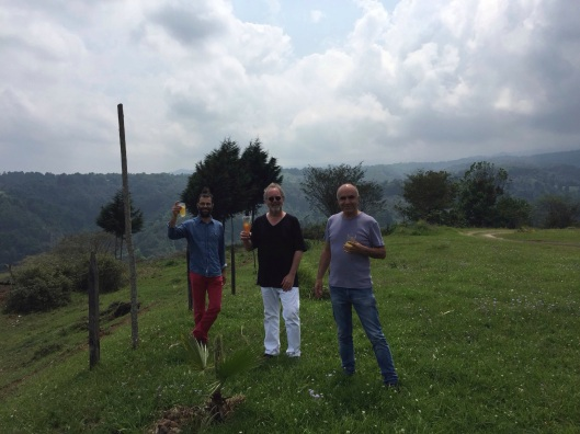 On a hill in Coatpec toasting our July reunion at REDCAT with Miguel Zaragosa and Ricardo Gallardo.