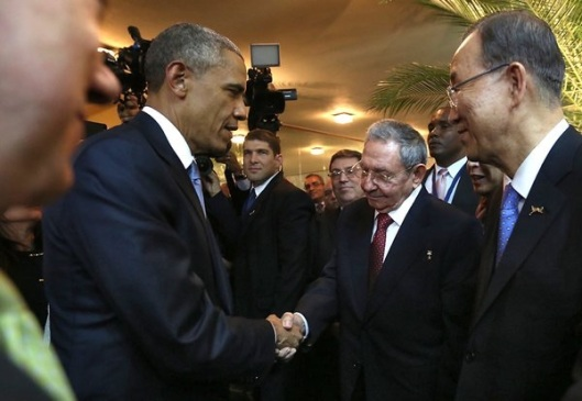 Change you can believe in as President Obama shakes hands with President Castro.