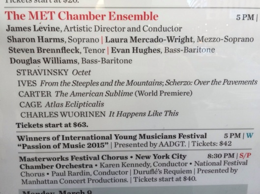 The playbill at Carnegie Hall.