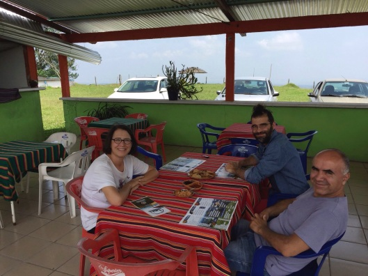 Jan, Miguel and Ricardo enjoying the cool breezes before lunch.