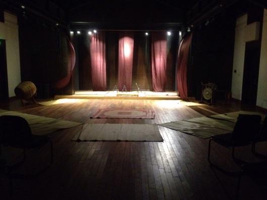 Inside the Old Quarter Cultural Center, with a wonderful hardwood floor yeilding good acoustics.