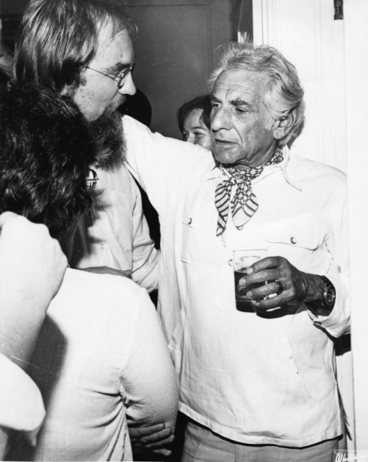 With Leonard Bernstein after the Tanglewood concert.