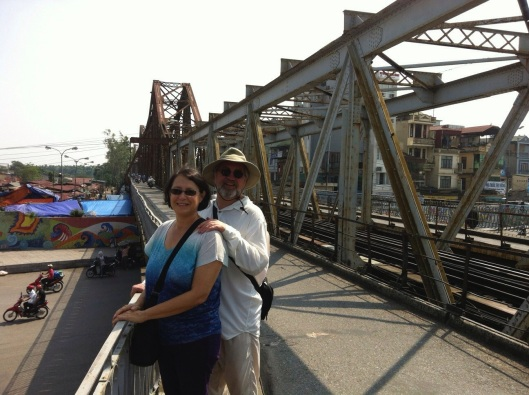 At the Long Bien Bridge in Hanoi.