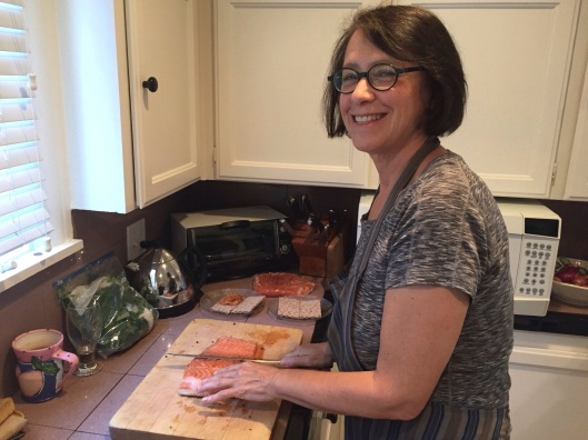 Jan slicing the salmon hours ahead of the guests arrival.